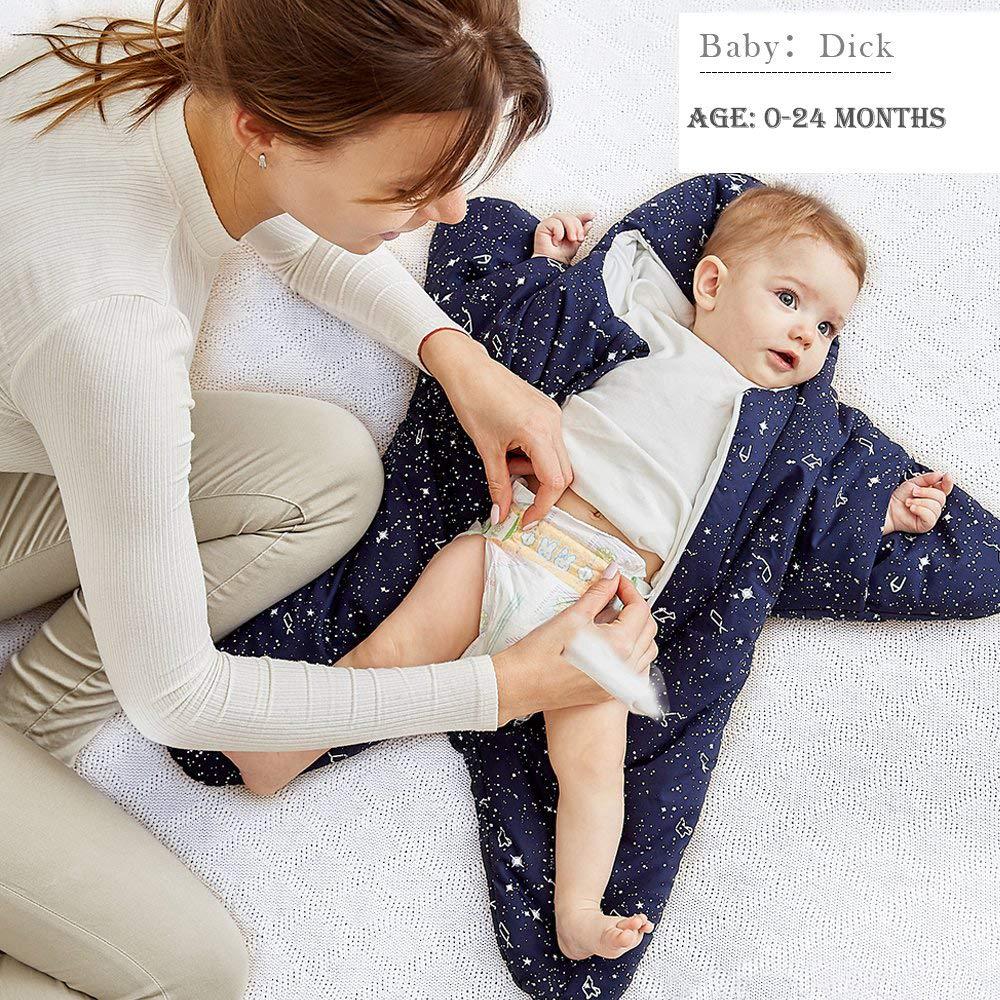 Saco de Dormir para beb/é Manta usable de Invierno 100/% Algod/ón Saco de Dormir para beb/é Camis/ón reci/én Nacido Saco de Dormir de Starfish Swaddling Bunting