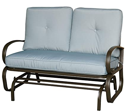 Kozyard Cozy Two Rocking Love Seats Glider Swing Bench Rocker For Patio Yard With Soft Cushion And Sturdy Frame Blue