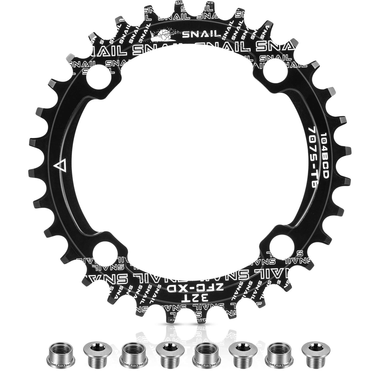 Chainring 104 BCD 34T Narrow Wide Single Chain Ring Black
