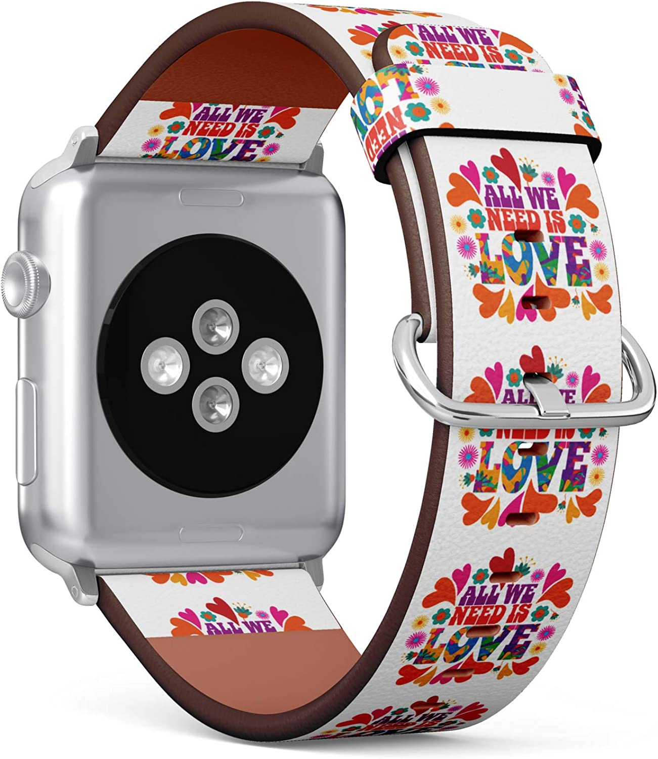 (Hippie Typography - All We Need is Love) Patterned Leather Wristband Strap for Apple Watch Series 4/3/2/1 gen,Replacement for iWatch 42mm / 44mm Bands