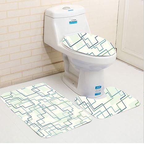 Amazon Com Keshia Dwete Three Piece Toilet Seat Pad Customgeometric