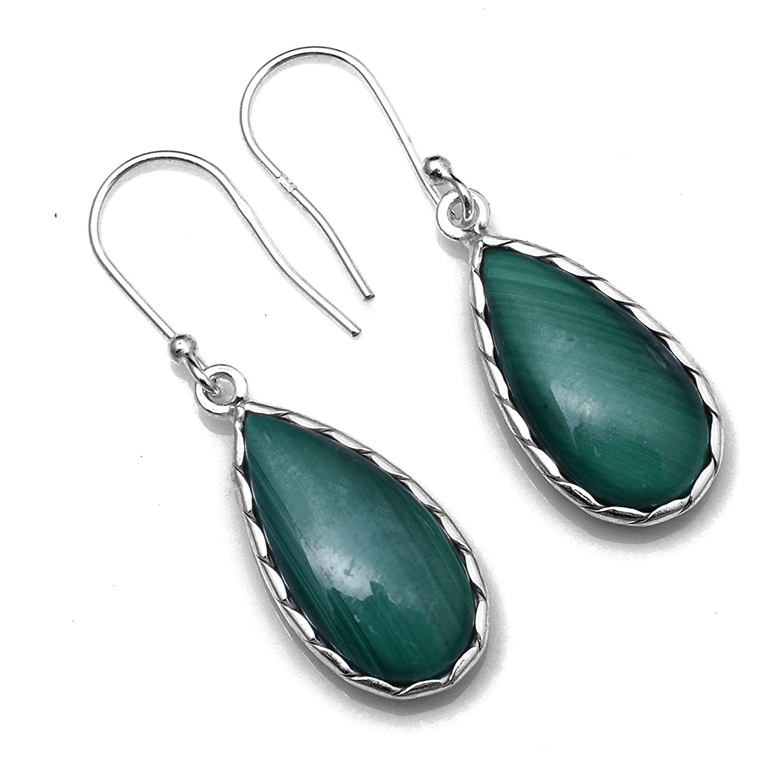 Silver Palace Sterling Silver Natural Malachite Earrings for Womens and Girls