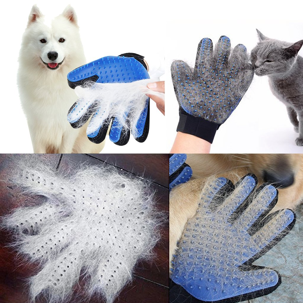 BLUE Enhanced Five Finger Design Breathable Deshedding Massage Tool Bathing Brush 1 Pair OWUDE Pet Grooming Glove Gentle Hair Remover Mitt Perfect for Dog /& Cat with Long /& Short Fur