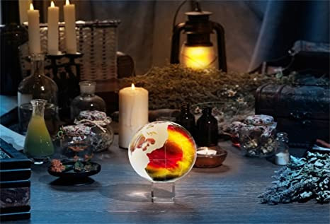 AOFOTO 7x5ft Magic Crystal Ball Backdrop Witchcraft Poison Drink Glassware  Occult Divination Candle Ancient Herb Photography Background Vintage