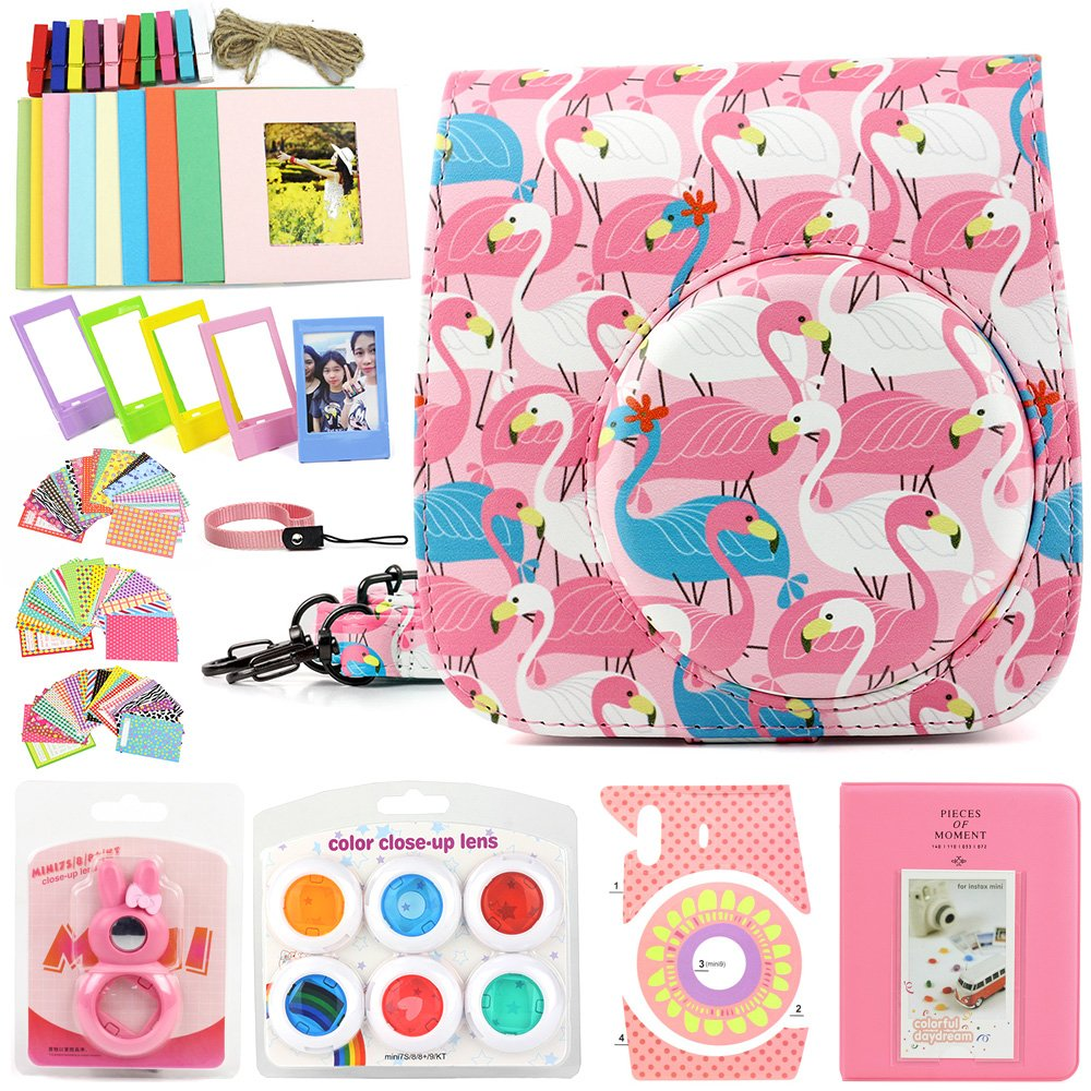 wogozan Accessory Kit for Fujifilm Instax Mini9 includes instant camera Case Lady Flamingo with strap/Album/Selfie Mirror/Photo Frames/Photo Stickers/Hand Strap & other Accessories
