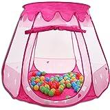 HSM Spielhaus mit 100 Bällen Pop Up Kinderzelt Baby Spielzelt mit 5 Fenstern Bällebad Pink