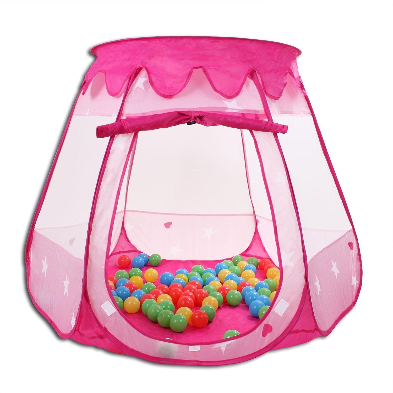 HSM Spielhaus mit 100 Bä llen Pop Up Kinderzelt Baby Spielzelt mit 5 Fenstern Bä llebad Pink