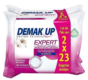 DemakUp - 2 estuches de 23 toallitas desmaquilladoras Expert impermeable para todo tipo de