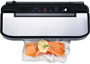 KLSJJ Vacuum Sealer Machine, Automatic Vacuum Sealing System for Food Preservation with Starter Kit, Food Saver Bags, Rolls, Dry Moist Modes, Led Indicator Light, Easy to Clean, Safety Certified