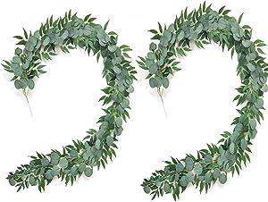 BJH 6ft Artificial Eucalyptus Garland Faux Silk Eucalyptus Leaves Vines Handmade Garland Greenery Wedding Backdrop Arch Wall Decor