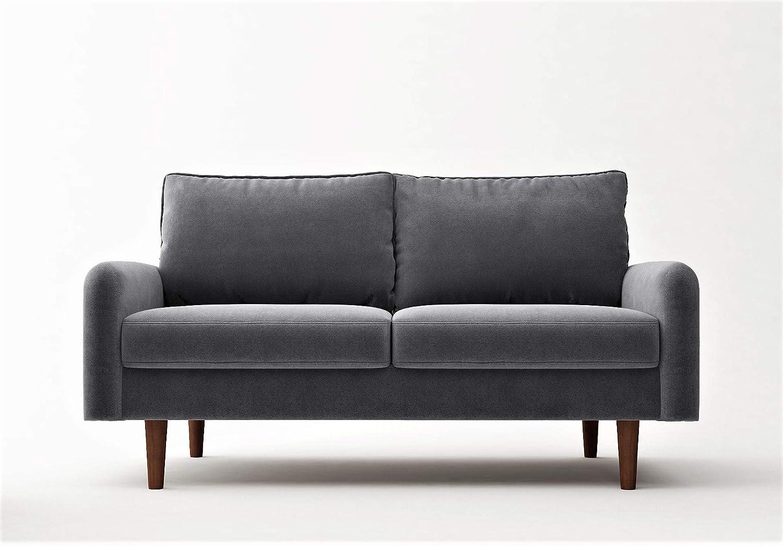 """Container Furniture Direct Americus Ultra Modern Velvet Upholstered Living Room Loveseat, 57.8"""", Grey"""