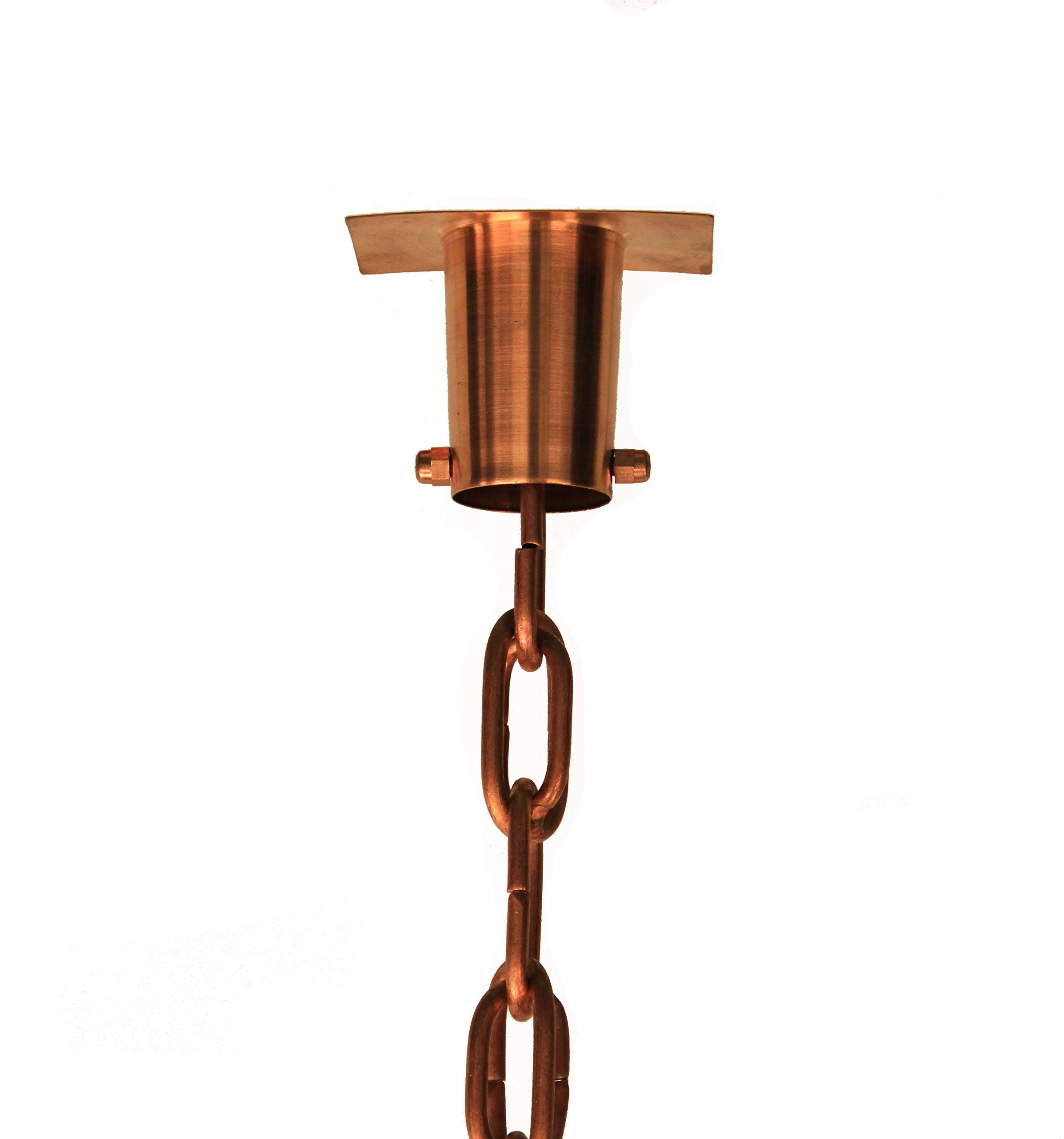 Large Copper Link Rain Chain with Installation Kit (12 Foot)