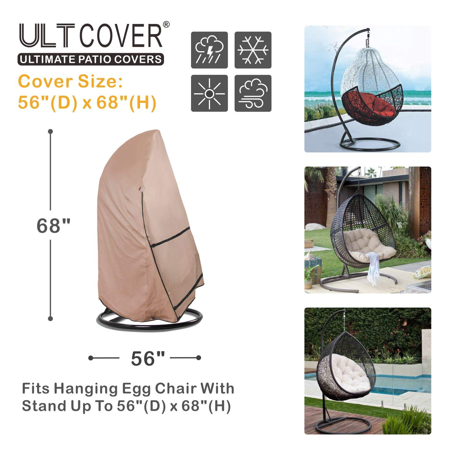 ULTCOVER Patio Hanging Egg Chair Cover - Waterproof Outdoor Single & 2 Person Swing Egg Chair with Stand Cover 56''(D) x 68''(H) by ULTCOVER (Image #2)