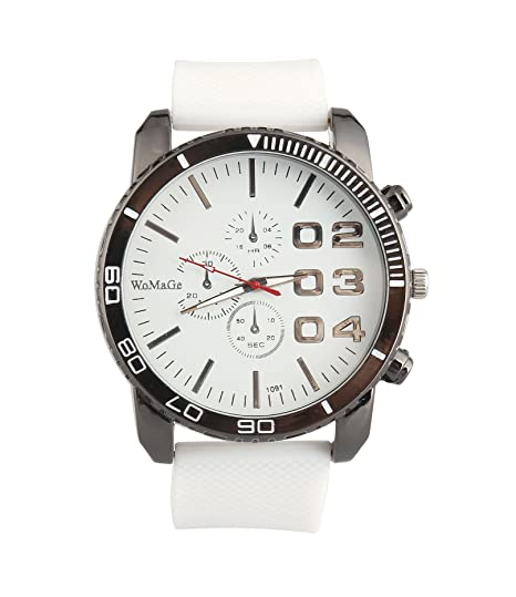 Amazon.com: ShoppeWatch Mens White Wrist Watch 50mm Big Face White Band Unisex Reloj Para Hombre SW1091WH: Watches