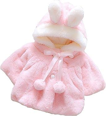 EGELEXY Baby Girls Faux Fur Leopard Hoodies Coat Kids Winter Warm Jacket Snowsuit
