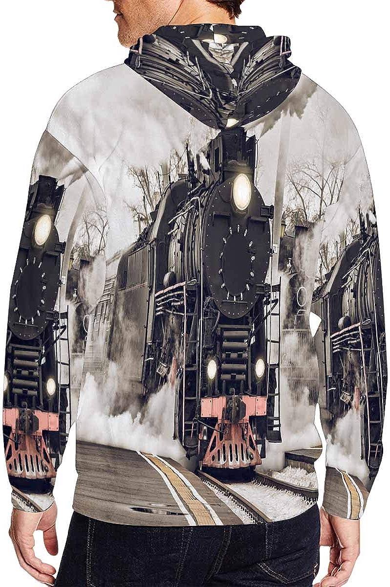 INTERESTPRINT Mens Full Zip Hooded Pullover Sweatshirt Retro Steam Train Departs from The Station