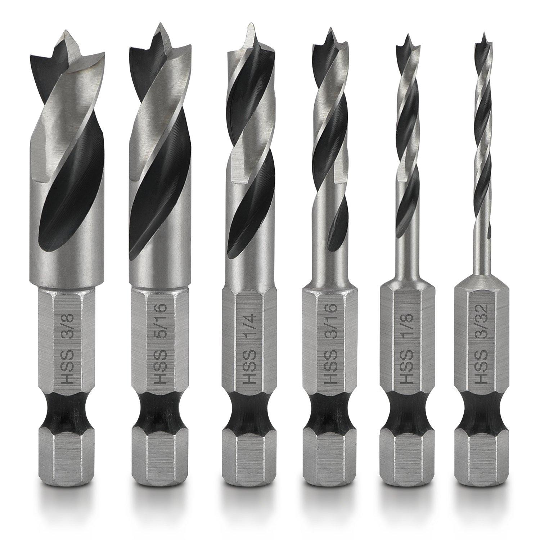 Neiko 11401A Stubby Drill Bit Set for Wood, 6 Piece | 1/4-Inch Quick Change Hex Shank | 4241 HSS Steel