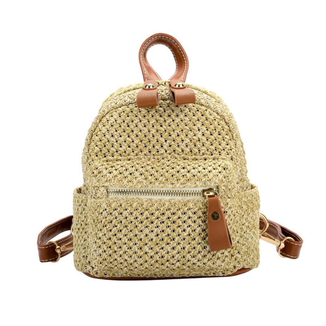 KONFA Backpack for Women,Ladies Teen Girls Fashion Weave Pattern Travel/School Mini Shoulder Bag (Brown)