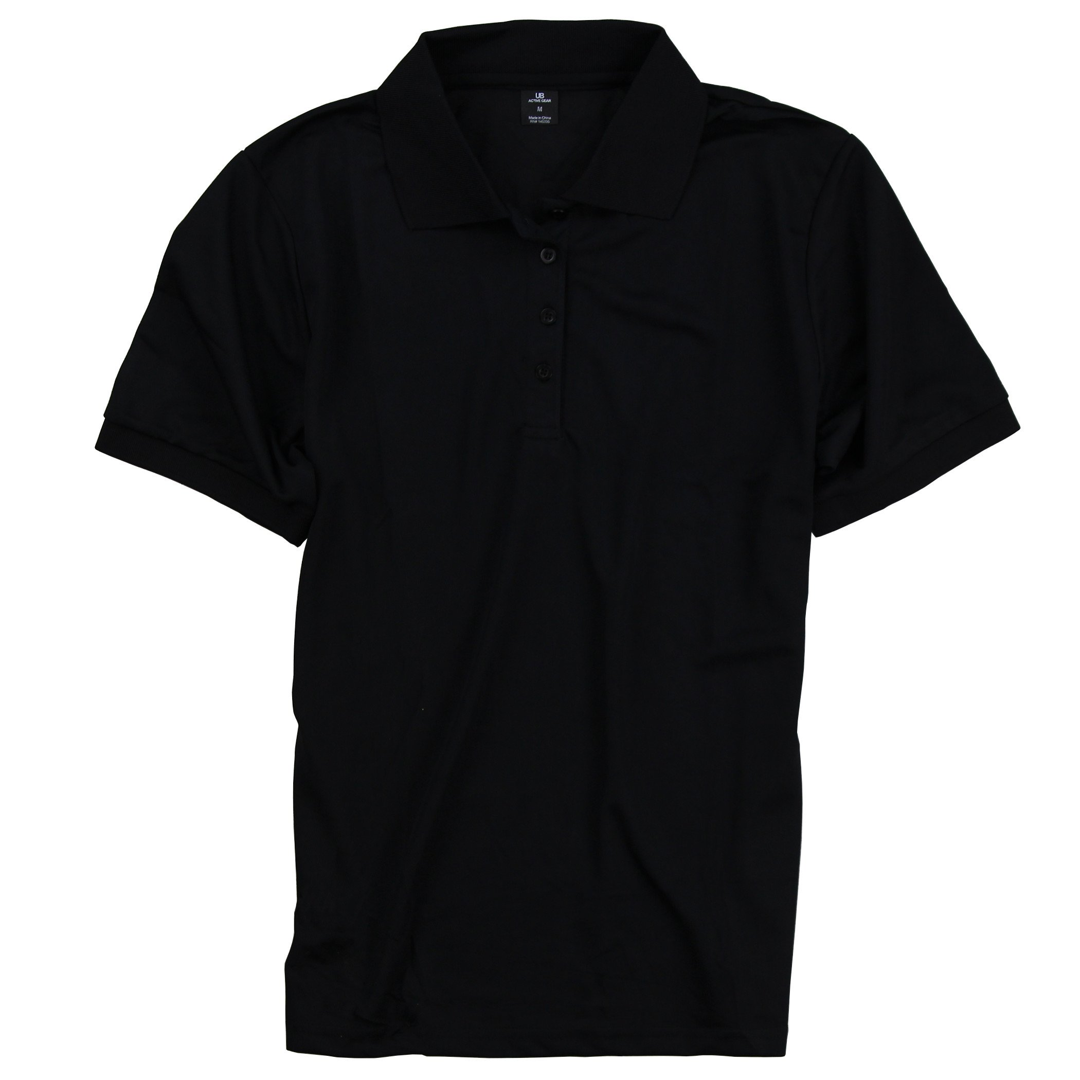 Urban Boundaries Women's Lightweight Active Collared Sports Polo UPF 30+ Protection (Black, Large)