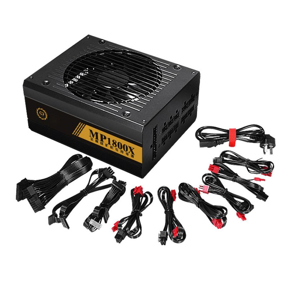 Gorgii 1600W Modular Power Supply For 6 GPU Eth Rig Ethereum Coin Mining Miner Machine (Black) by Gorgii