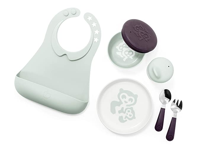 Stokke Munch Complete Soft Mint Microwave and Dishwasher Safe Kids Dinnerware Set