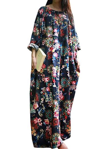 Freestyle Primavera y Otoño Mujeres Casual Suelta Impresión Maxi Vestido de Playa Moda Hermoso Cuello Redondo