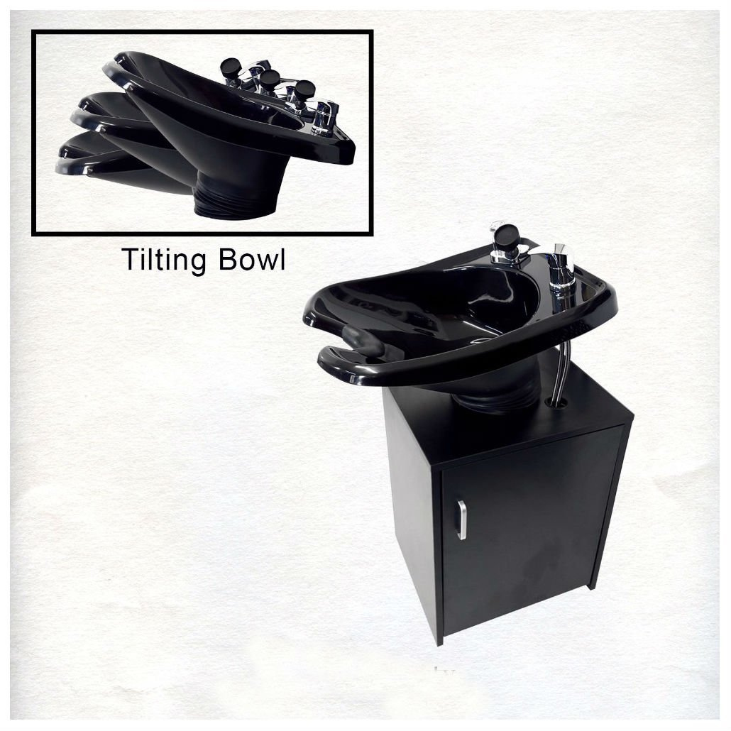 Square Shampoo Sink Bowl Black Cabinet Beauty Salon Furniture TLC-B11-KSGT-FC