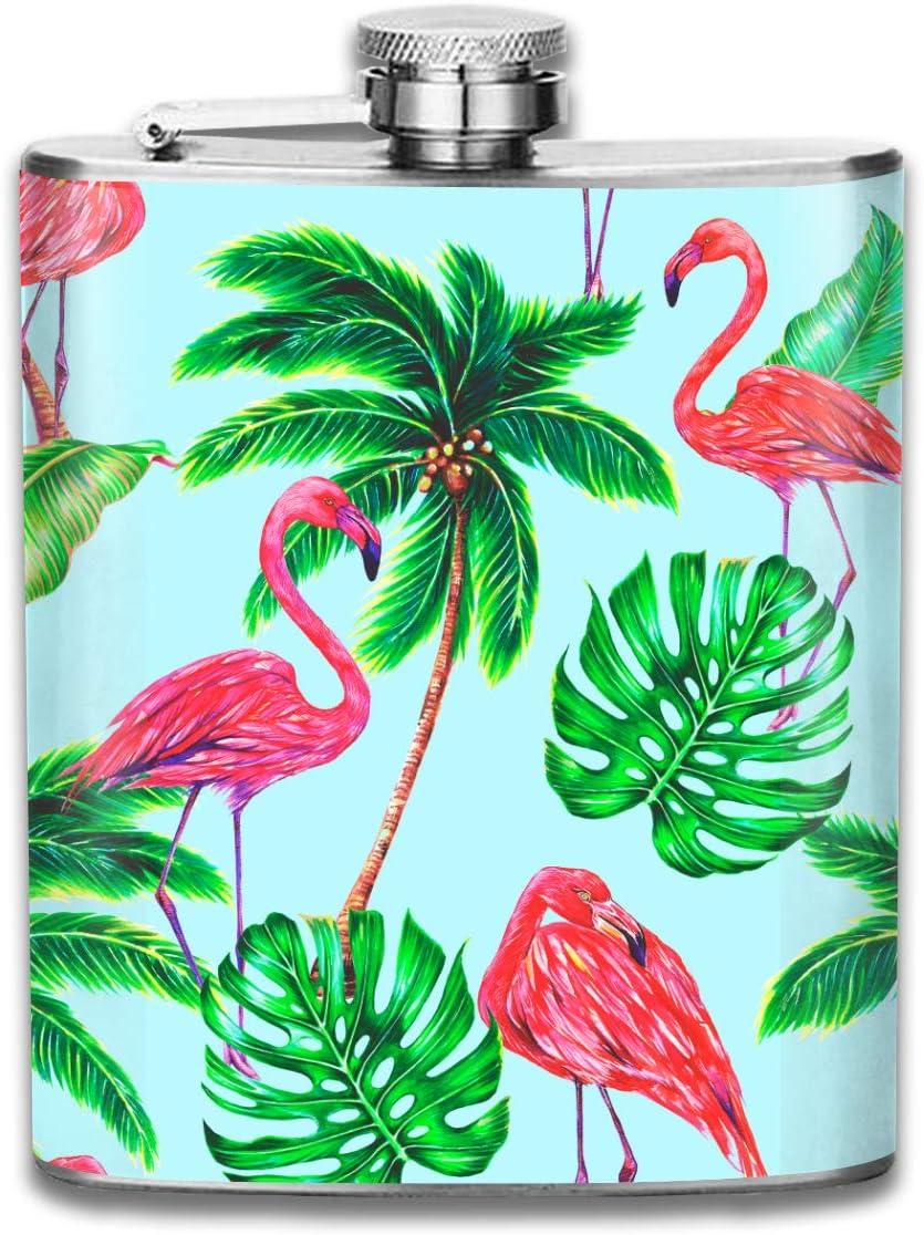 Palmeras de coco de verano, hojas tropicales, flamencos ...