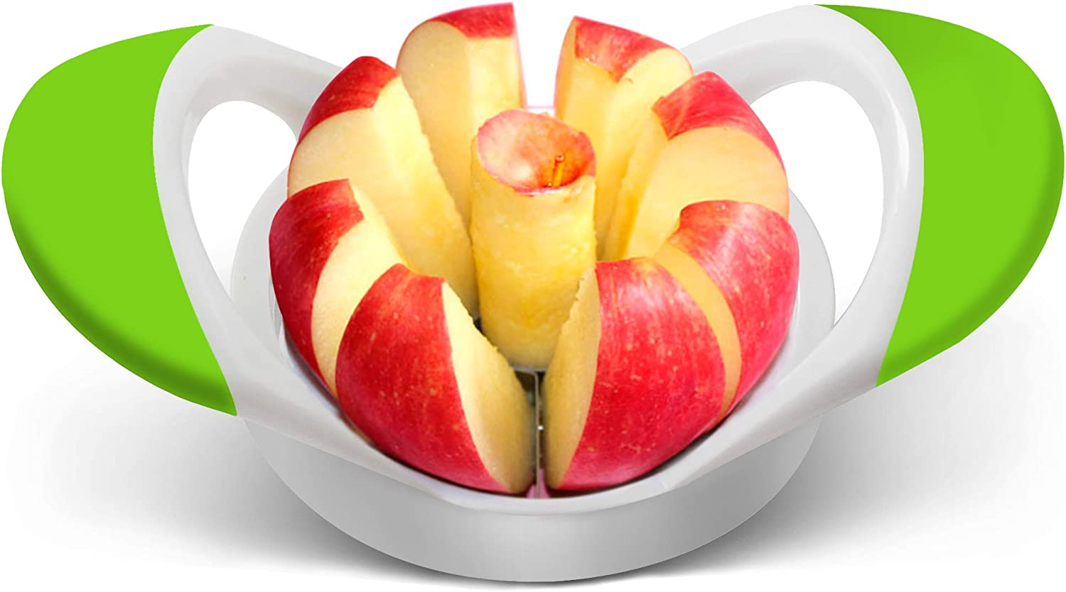 Warmheart Apple Slicer Cutter and Corer Apple Wedger Stainless Steel - 8 Sharp Blades and Easy Grip Ergonomic Rubber Grip Handle Tool Fruit Cutter (Green)