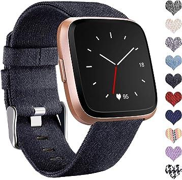 Ouwegaga Compatible con Fitbit Versa Correa/Fitbit Versa 2 Correa, Pulsera Tejidas Ajustable Reemplazo Sport Wristband Compatible con Fitbit Versa Smartwatch, Pequeño, Denim Negro: Amazon.es: Electrónica