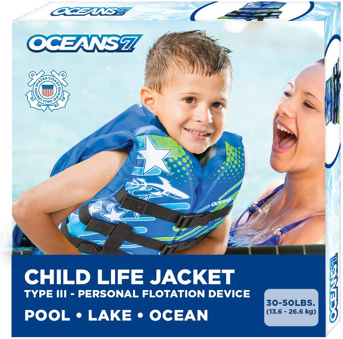 New & ImprovedOceans7 US Coast Guard Approved, Child Life Jacket, Flex-Form Chest, Open-Sided Design, Type III Vest, PFD, Personal Flotation Device, Blue/White
