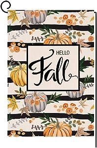 Hello Fall Pumpkin Garden Flag Vertical Double Sided Farmhouse Autumn Thanksgiving Burlap Yard Outdoor Decor 12.5 x 18 Inches