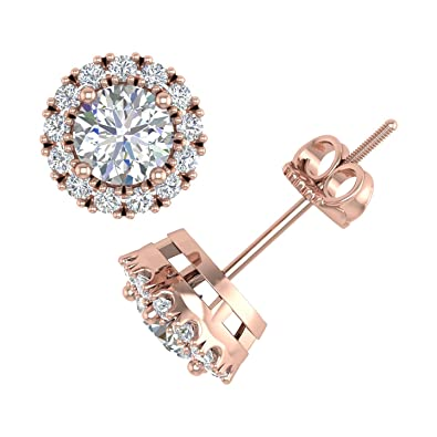 d45840d07 18k Rose Gold Round Cut Diamond Halo Stud Earrings (0.83 Carat) - IGI  Certified