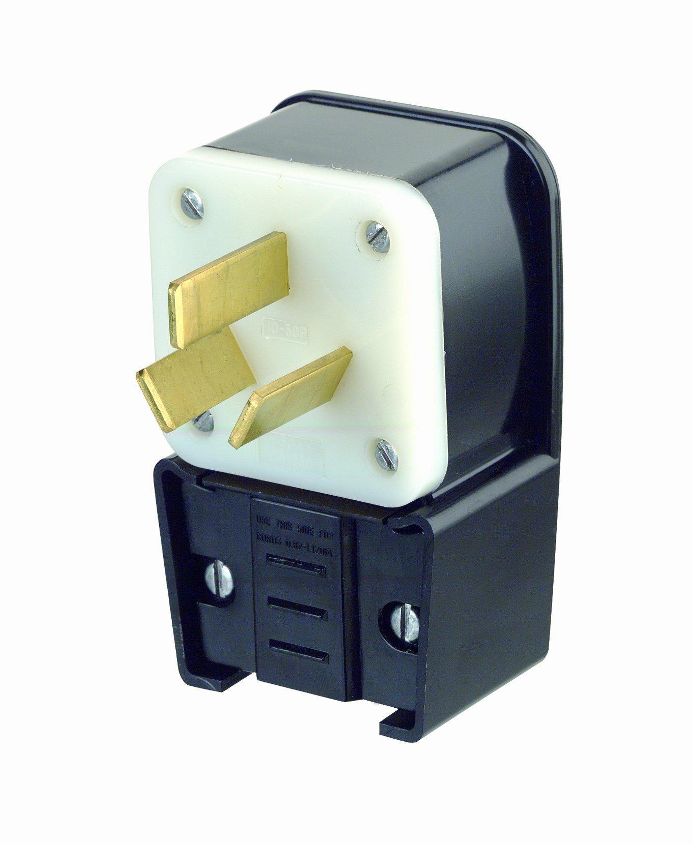 3-Pole Industrial Grade Angle Range Plug, Straight Blade, Black, Nema 10-50P, 125/250 Volts, 50 Amps