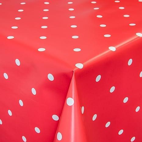 Mantel para mesa de hule, lavable, puntos rojos, redondo, 100 cm.