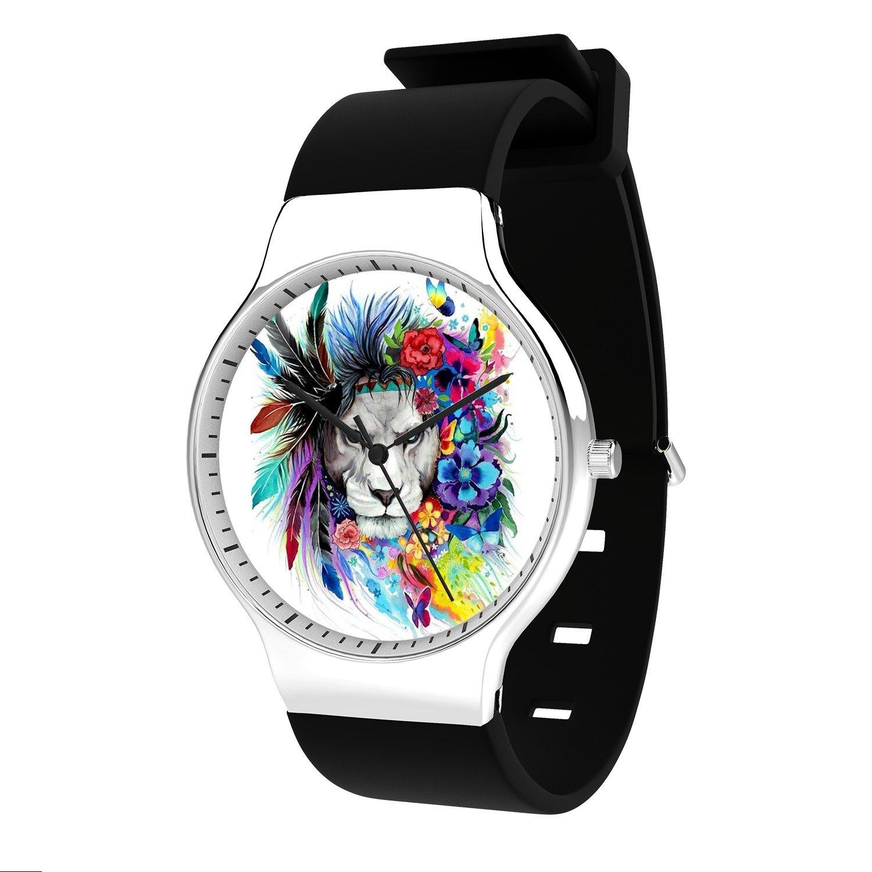 FELOOWSE Animal Watches Caballos Watch Men's Quartz Watches, Minimalist Slim Japanese Quartz Youth Silicone Watches, Fashion PracticalWaterproof Boys Watch Customized Watches