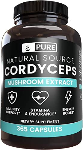 Naturally Sourced Cordyceps, 4-Month Supply, 365 Capsules, No Stearates or Rice Filler, Made in The USA, Non-GMO Gluten-Free, 1350 mg of Undiluted Cordyceps with No Additives