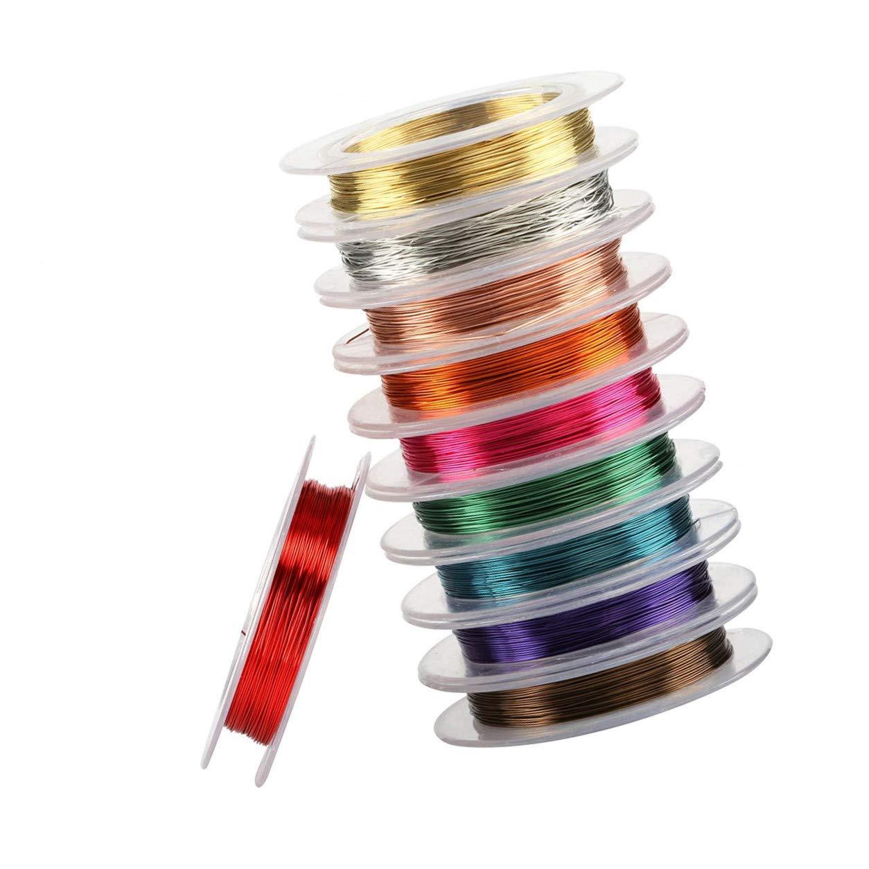 8f075598b04f bisuterí a Lvcky 10 Rollos de Alambre de Cobre de 0,3 mm de Color ...
