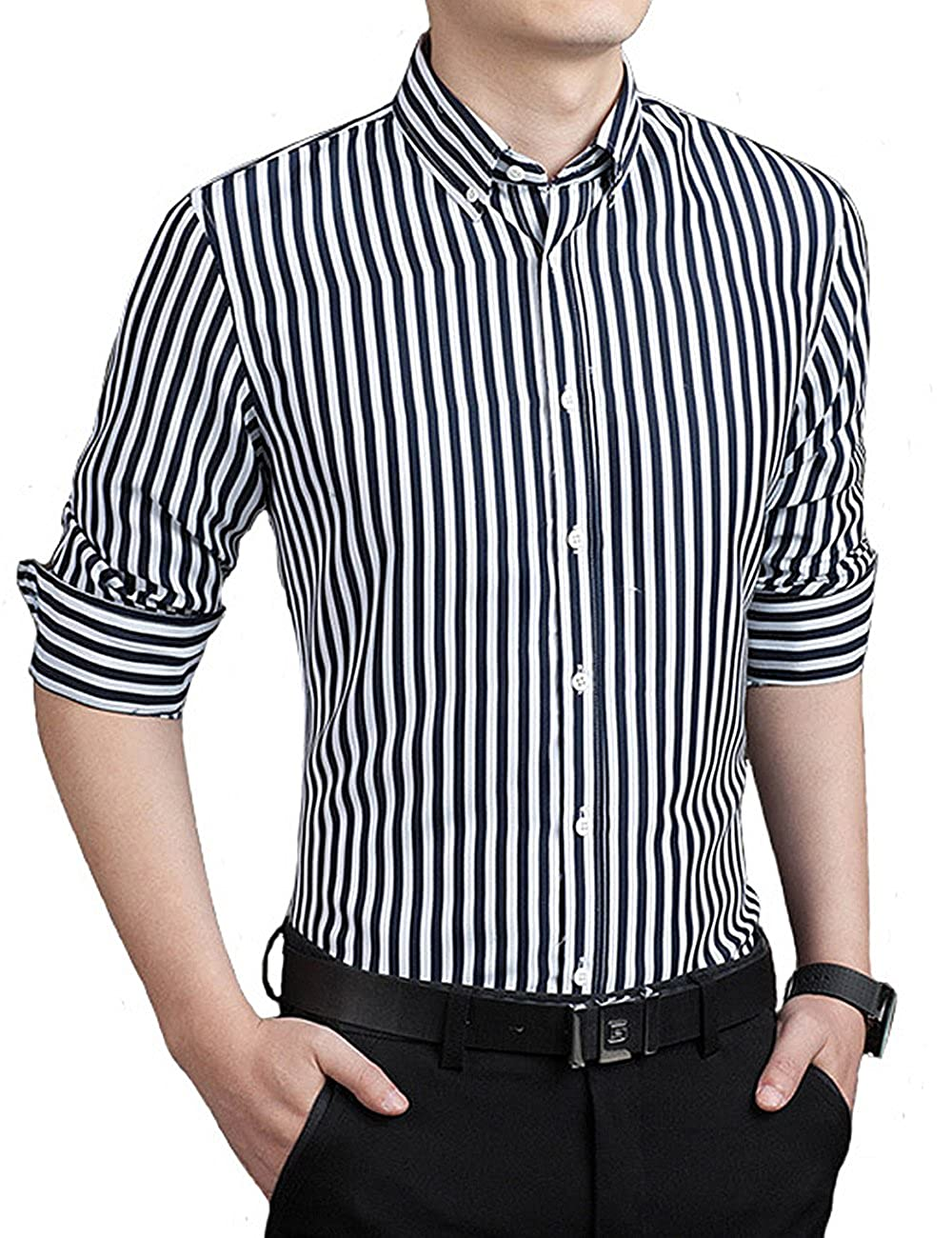 d96f581a190 Amazon.com  ERZTIAY Men s Casual Business Vertical Striped Button Down Long  Sleeve Dress Shirts  Clothing