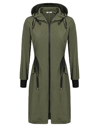 fac432772810 Amazon.com  ELESOL Women s Lightweight Waterproof Long Raincoat Hood ...