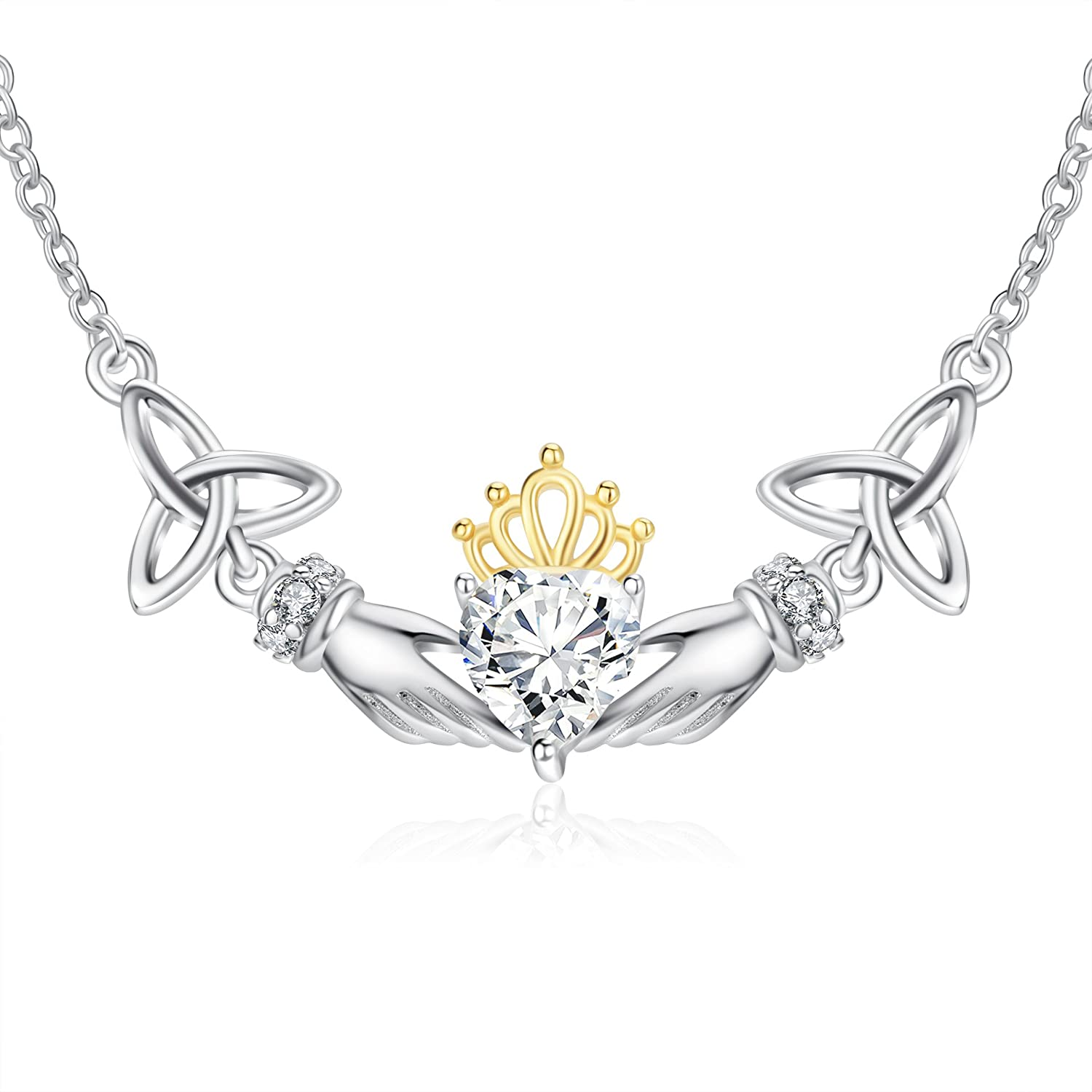 POPLYKE Sterling Silver Irish Celtic Knot Claddagh Crown Heart Pendant  Necklace for Women