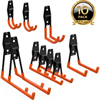 ORASANT 10-Pack Steel Garage Storage Utility Double Hooks, Heavy Duty for Organizing Power Tools, Ladders, Bulk items, Bikes, Ropes etc.