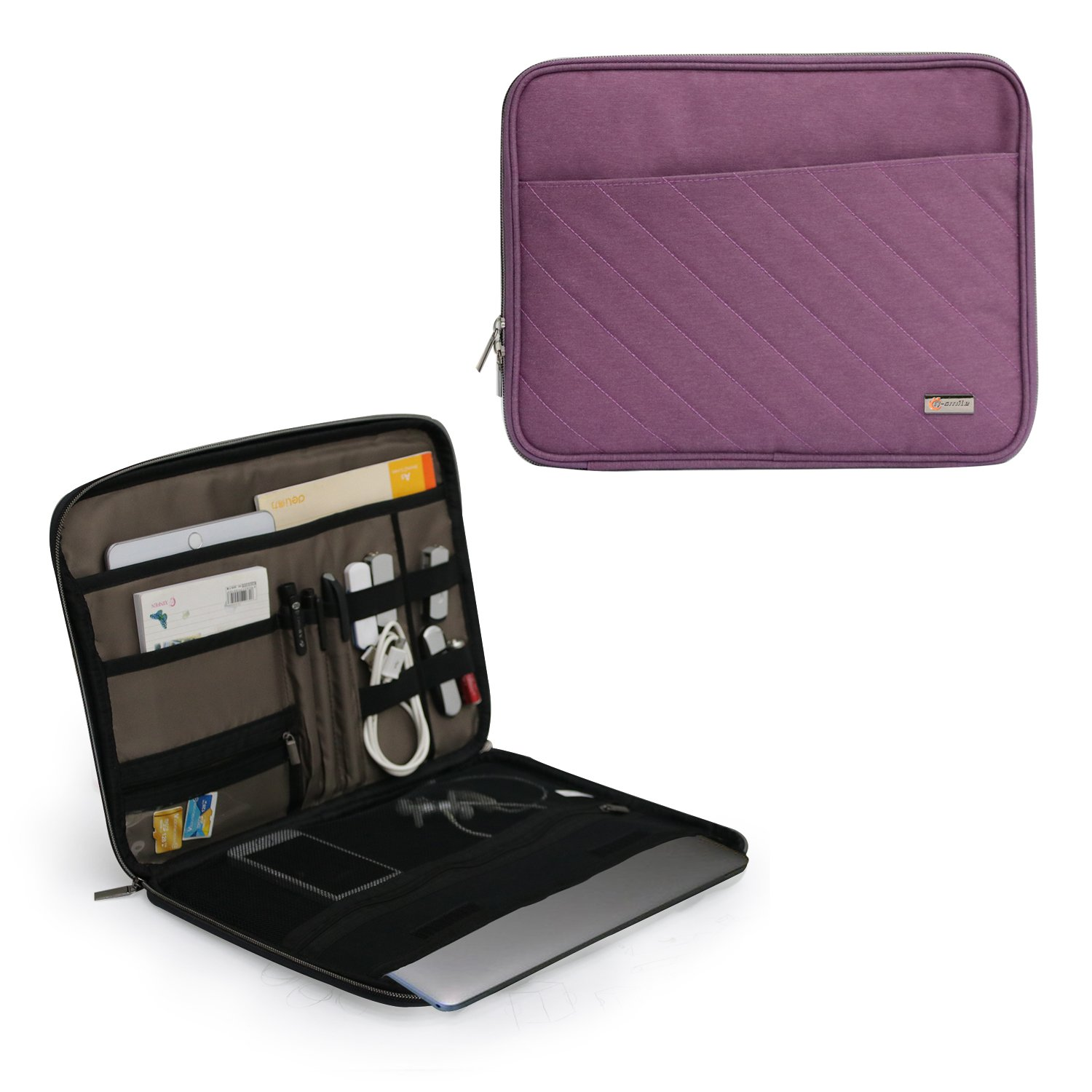 Q-Smile 13.5 Inch Laptop Tablet Sleeve Case Water-Resistant Electronic Accessories Organizer Bag (Purple)