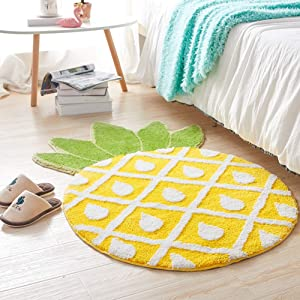 ASDFGH Pineapple Cozy Absorbent Doormat Rugs, Creative Round Decorative Rug Shaggy Area Rug Computer Chair Carpet Foot Pad Washable-a 80x136cm(31x54inch)