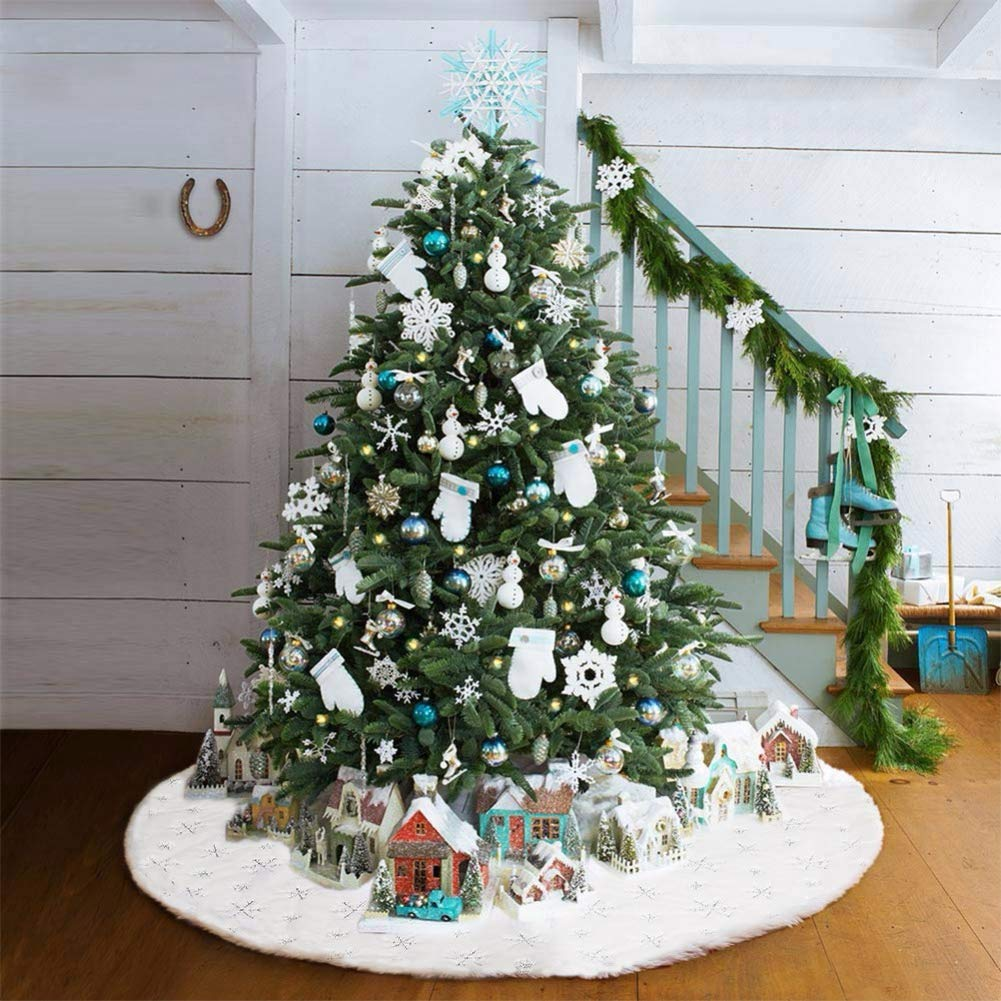 36 Large White/&Gold Luxury Faux Fur Tree Skirt with Snowflakes Super Soft Thick Plush Tree Skirt for Xmas Tree Decoration Dremisland Christmas Tree Skirt Golden, 36inch//90cm