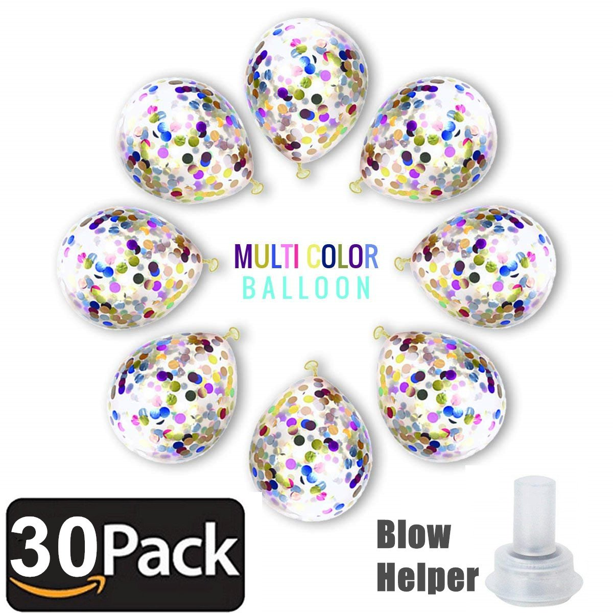 Bollovi Confetti Balloons Latex with Multicolored Paper Dots Party Decorations Wedding Birthday Anniversary Accents (30 Piece), Colorful, 12 Inch by Bollovi