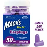 Mack's Slim Fit Soft Foam Earplugs, 50 Pair - Small Ear Plugs for Sleeping, Snoring, Traveling, Concerts, Shooting Sports & Power Tools