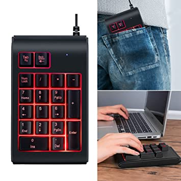 Behavetw Teclado Numérico mecánico, con Cable de 3 Colores, retroiluminado, para Videojuegos, Portátil, Ordenador Portátil, PC: Amazon.es: Informática