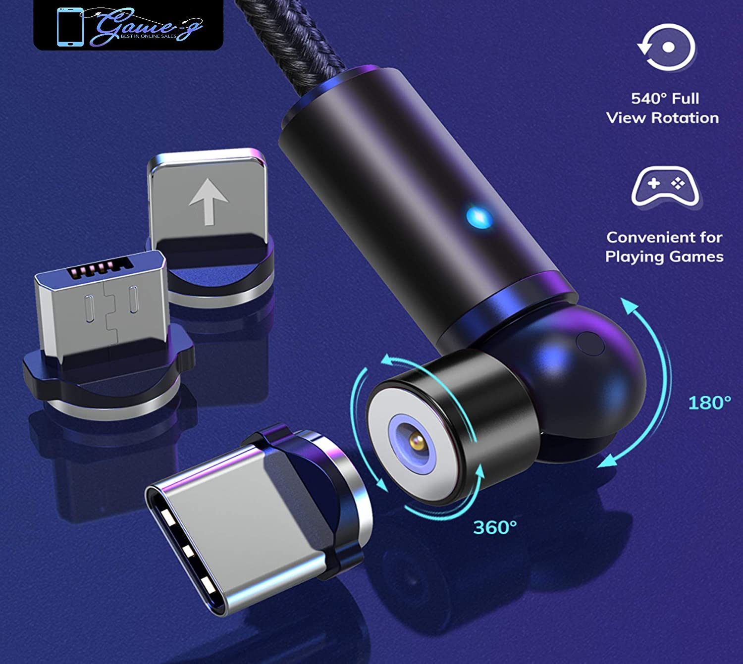 Black Game-Z Magnetic Charging Cable 540 Degree Magnetic Phone Charger,3-in-1 USB Magnetic Cable Compatible with Micro USB,Type C and iProducts
