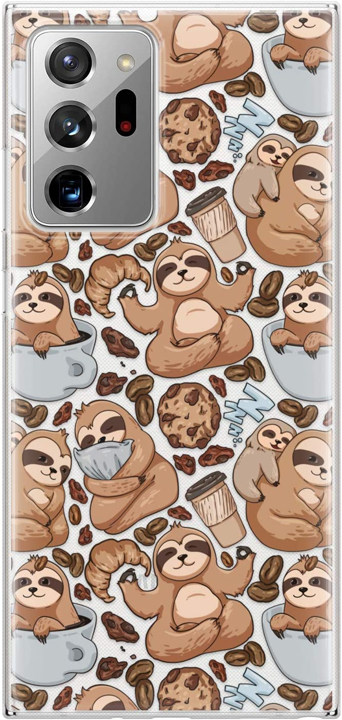 Lex Altern TPU Case Compatible with Samsung Galaxy S21 Note 20 Plus S20 Ultra S10 5G 9 Cute Kawaii Coffee Sloth Yoga Slim Clear Flexible Cookie Silicone Protective Cover Animal Lightweight phh388